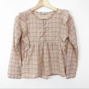 Zara Girls Mauve Plaid Ruffle Lon Sleeve Top 13/14